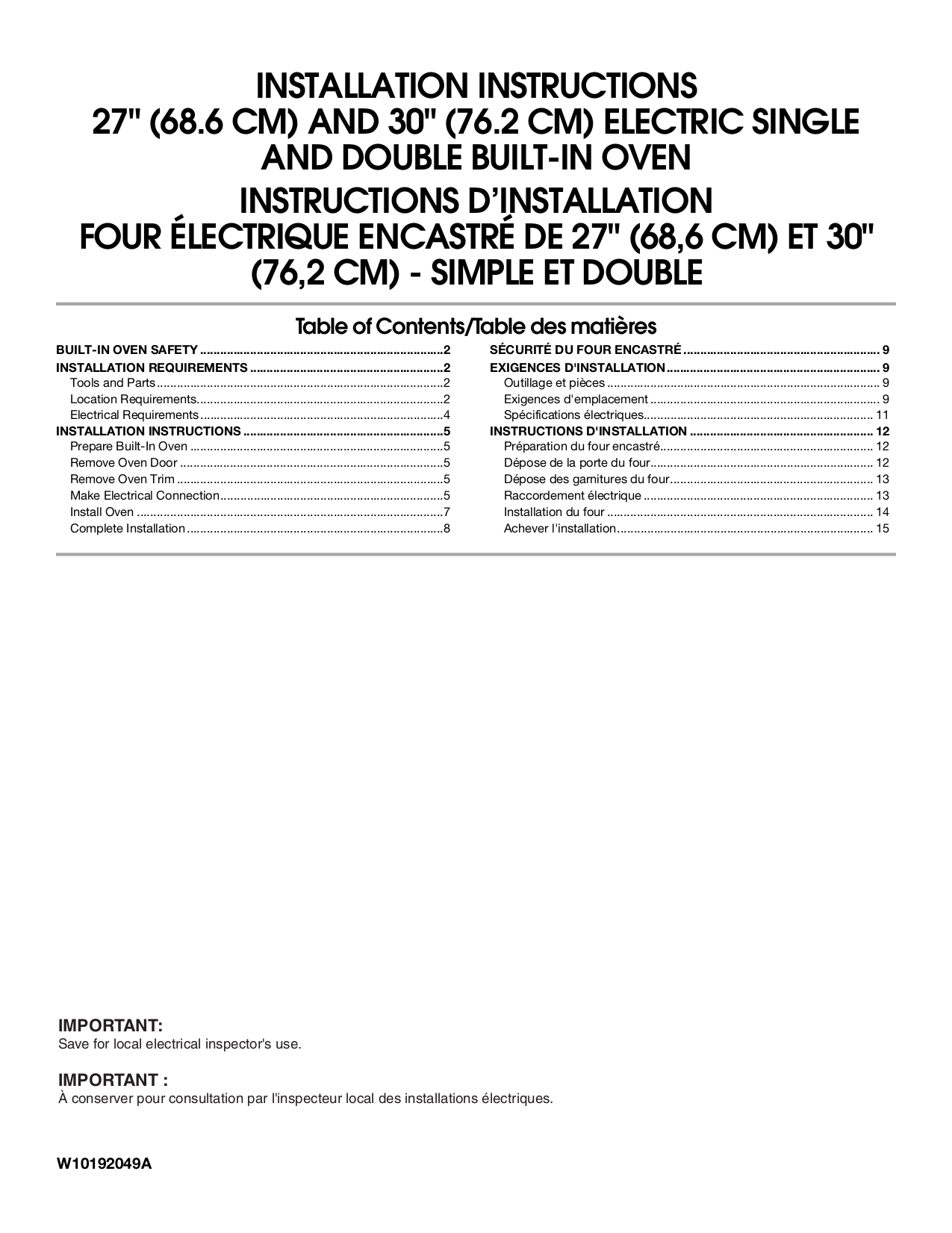 Whirlpool Built In Oven Installation Instructions Wiring Diagram Instruction Dimension Guide Rbd305pv Pdf Page Preview