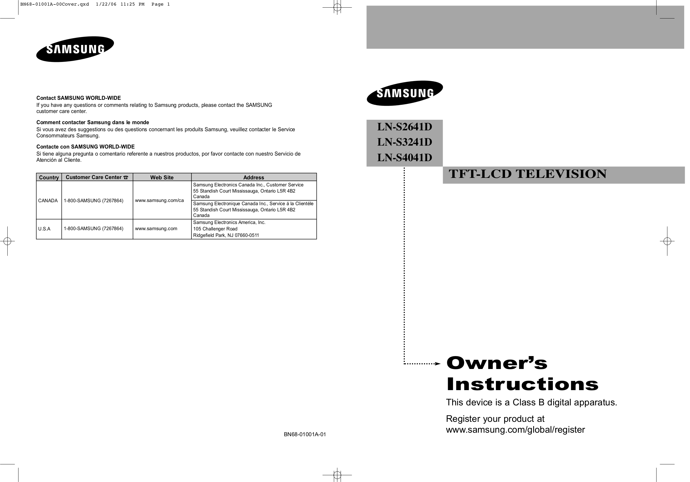 download free pdf for samsung lns4041d tv manual