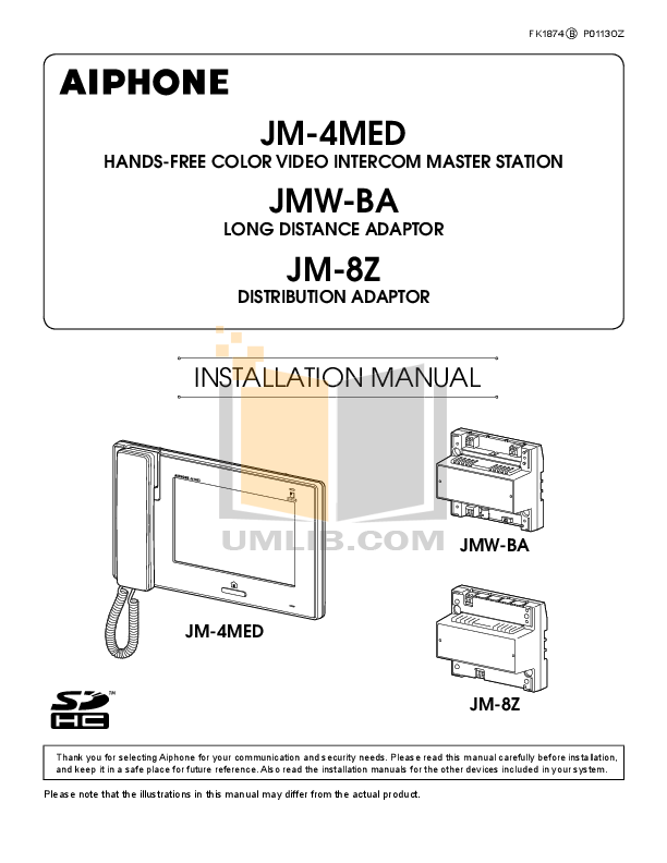 pdf for Aiphone Other JB-DVF-HID Intercoms manual