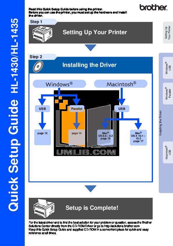 pdf for Brother Printer HL-1430 manual