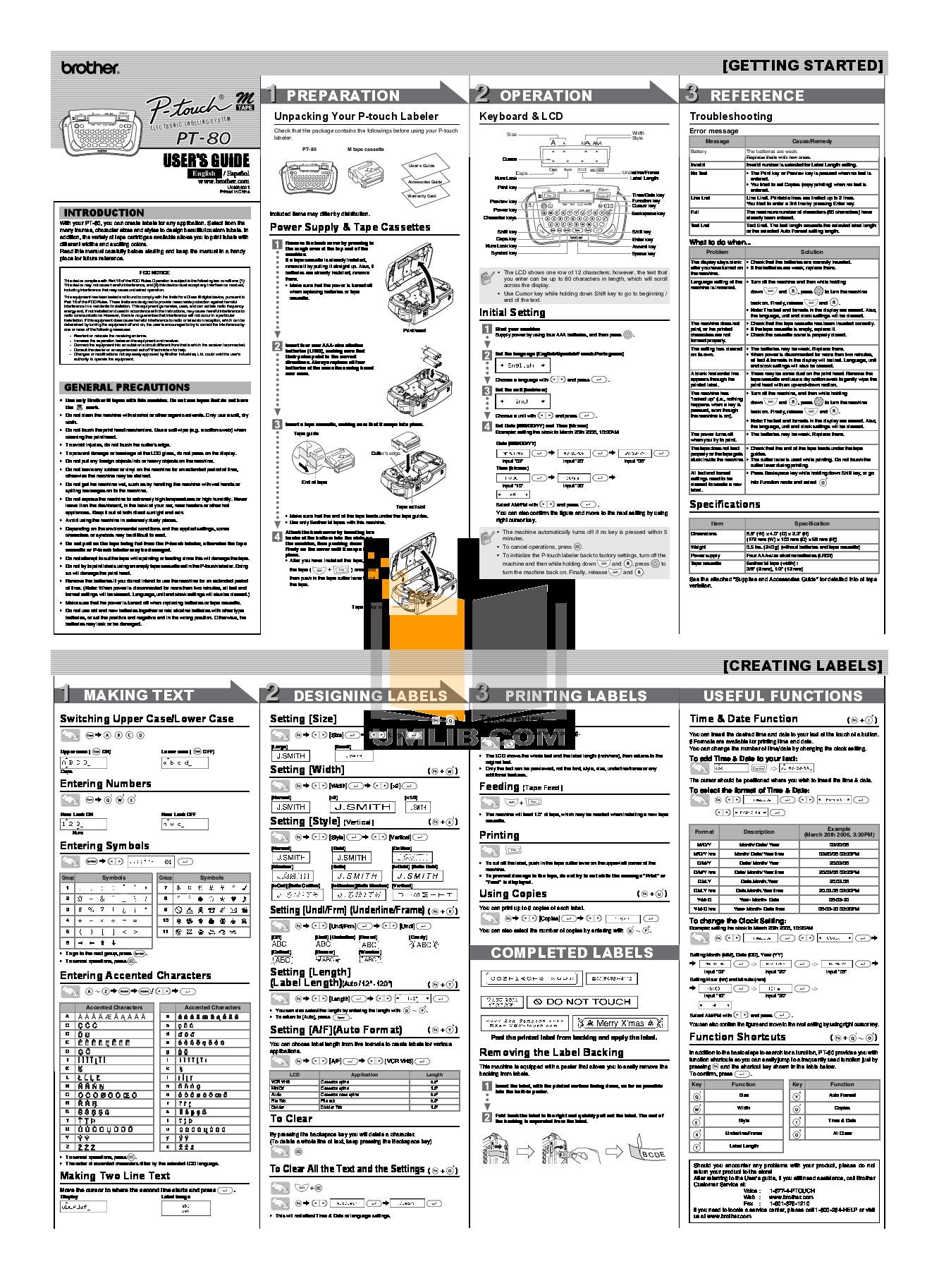 pdf for Brother Printer PT-100 manual