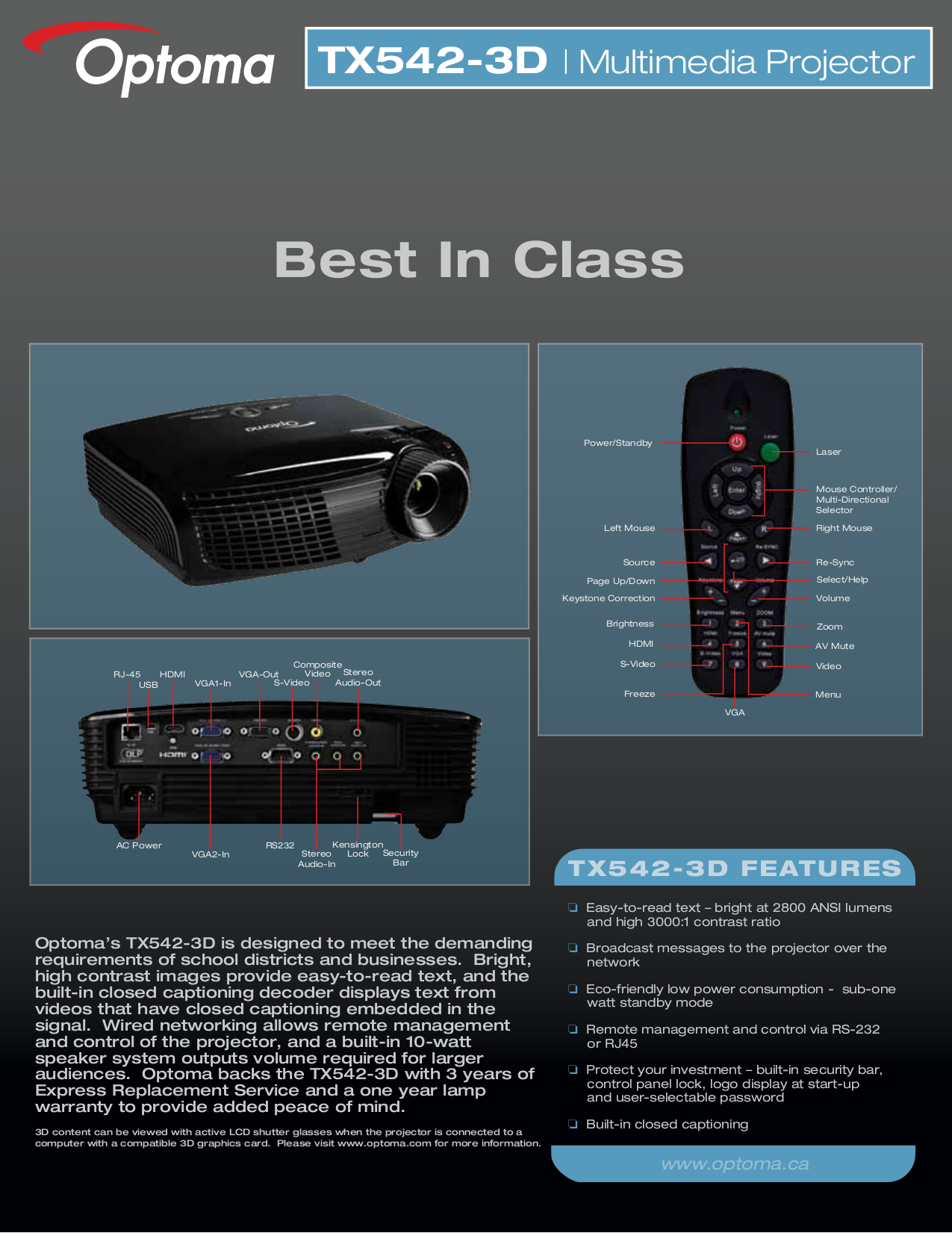 Optoma Projector TX542 pdf page preview