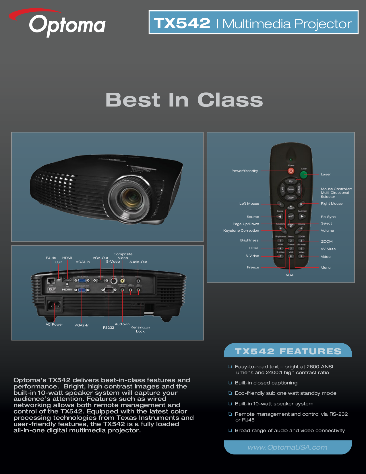 pdf for Optoma Projector TX542 manual