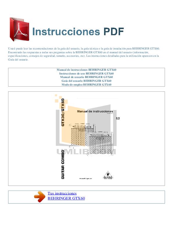 pdf for Behringer Amp GTX60 manual