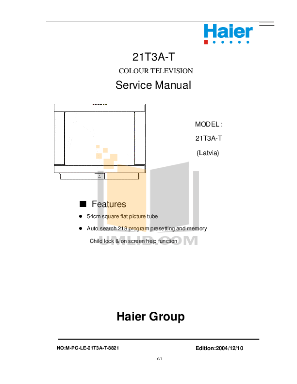 pdf for Haier TV 21T3A manual