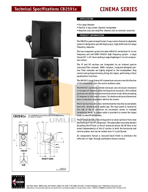 pdf for Eaw Speaker System Cinema CB2591X manual
