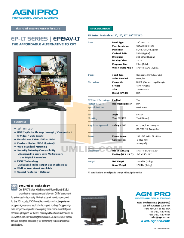 pdf for Agnpro Monitor EP-19AV manual