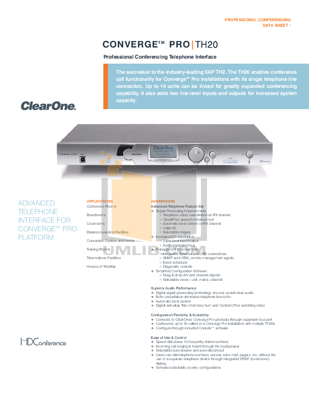 pdf for ClearOne Telephone XAP TH2 manual