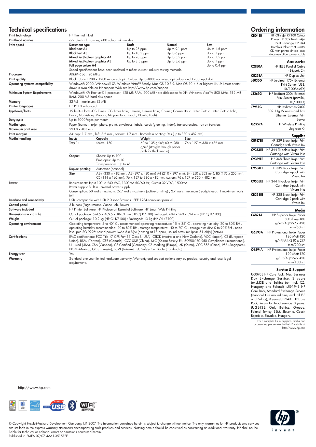 PDF manual for HP Printer Officejet K7100