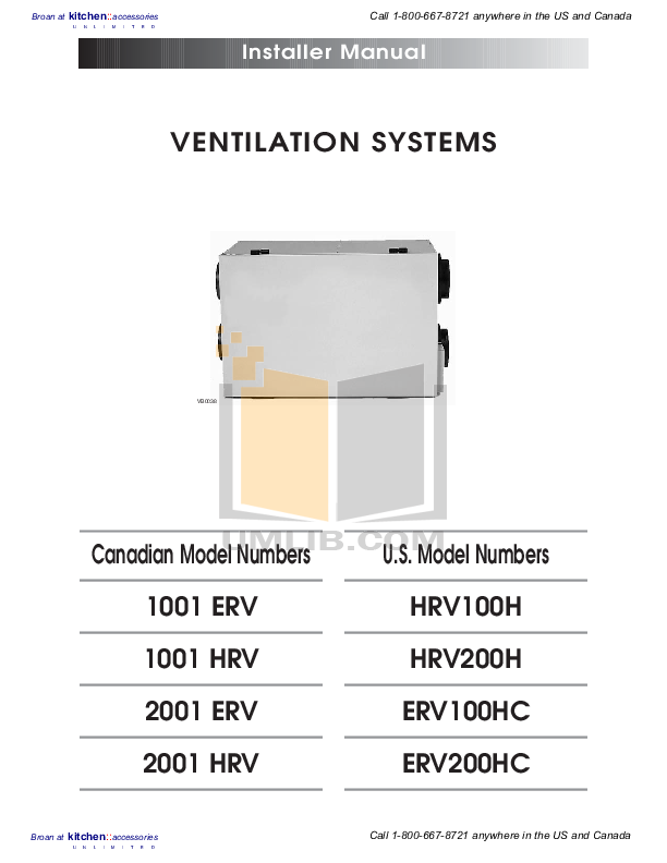 pdf for Broan-NuTone Other ERV100HC Ventilation Systems manual