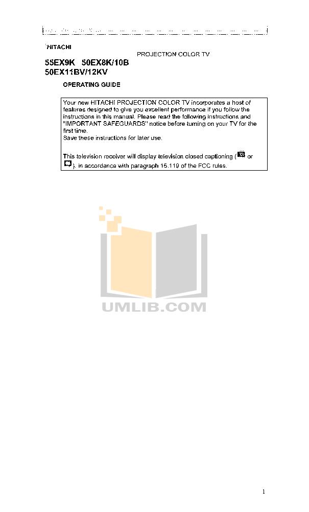 pdf for Hitachi TV 55EX9K manual