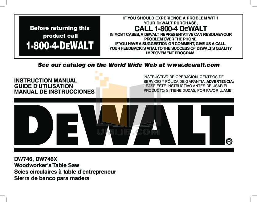 Download Free Pdf For Dewalt Dw746 Table Saw Other Manual Manual Guide