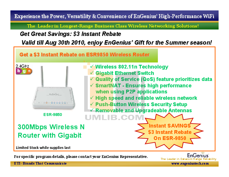 pdf for EnGenius Wireless Router ESR-9850 manual