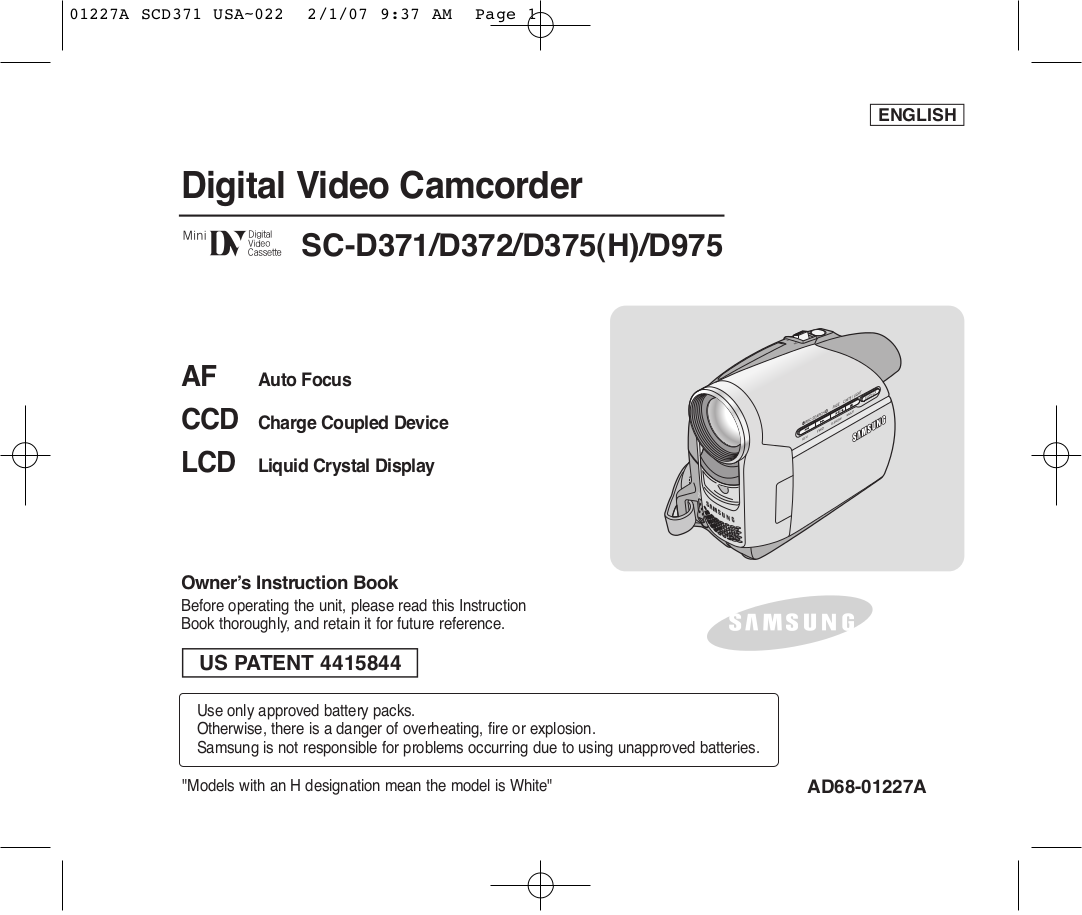 pdf for Samsung Camcorders SC-D372 manual