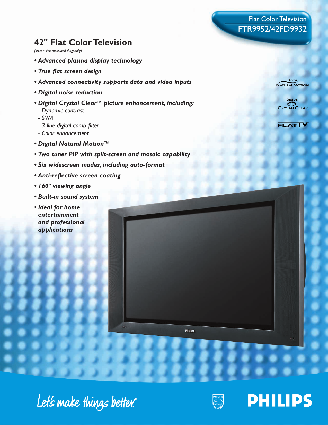 Download free pdf for Philips FTR9952 TV manual
