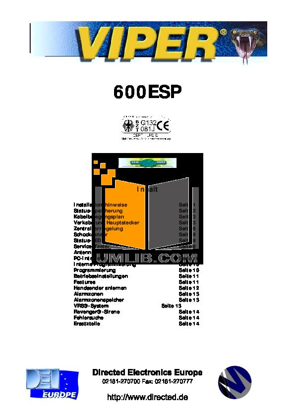 PDF manual for DEI Other Viper 600ESP Car Alarms on viper alarm system, viper blueprints, viper auto alarm sensor, flow diagram, viper alarm instruction manual, viper alarm lights, viper 211hv wiring-diagram, car diagram, viper alarm owners manual, scr diagram, abs diagram, viper door lock wiring guide, vehicle alarm system diagram, viper alarm power supply, viper 4103 wiring-diagram, cat diagram, street rod brake system diagram, viper 791xv wiring-diagram, viper 5904 installation diagram, viper auto start,