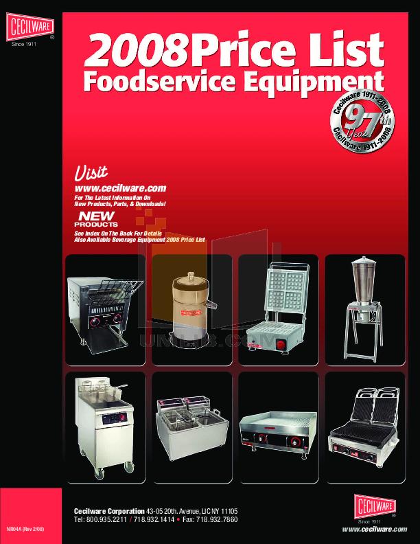 pdf for Cecilware Other EL-1624T Griddles manual