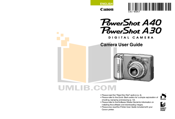 pdf for Canon Digital Camera Powershot A30 manual