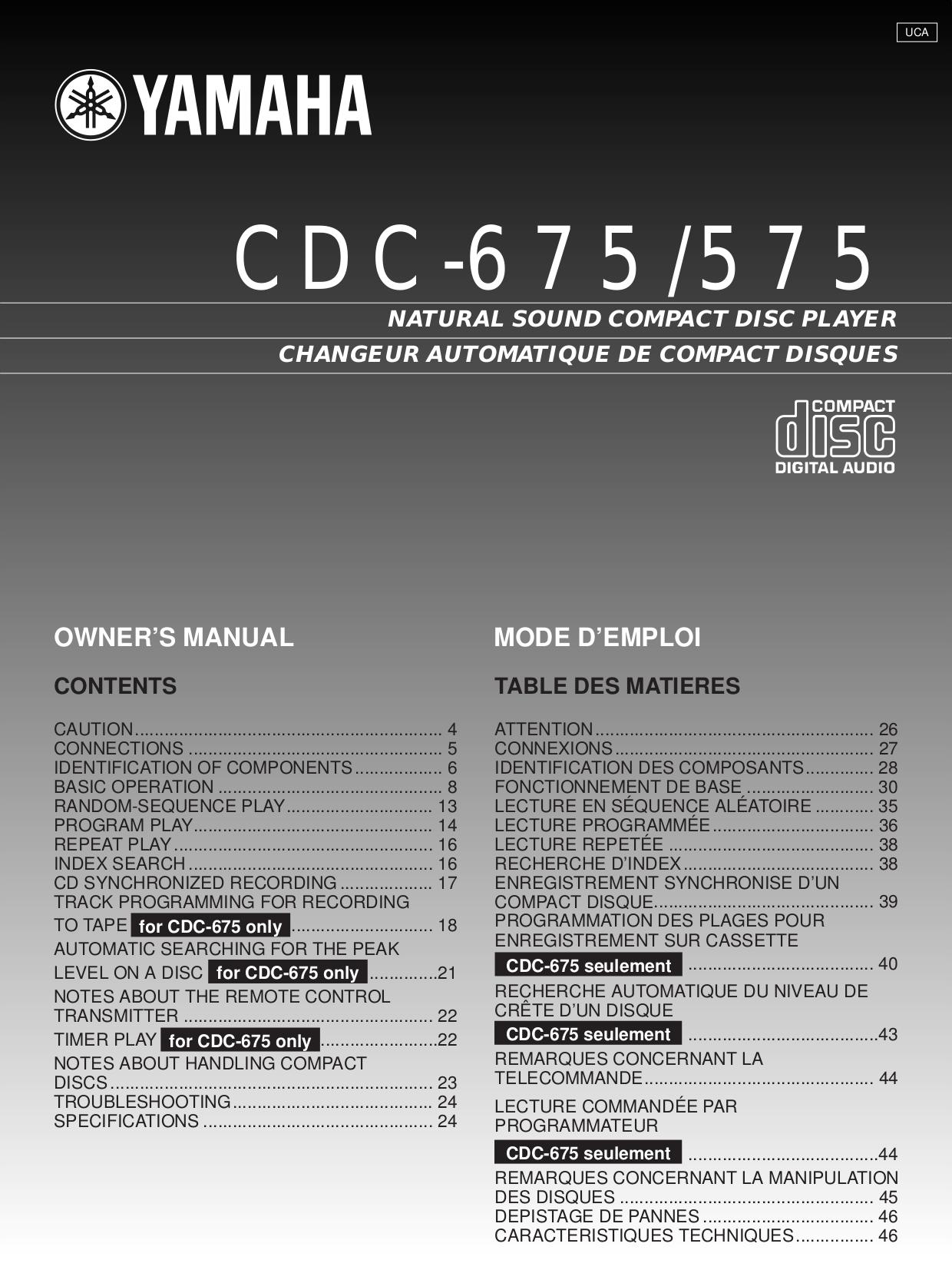 Download free pdf for yamaha cdc 655 cd player manual for Yamaha cdc 675