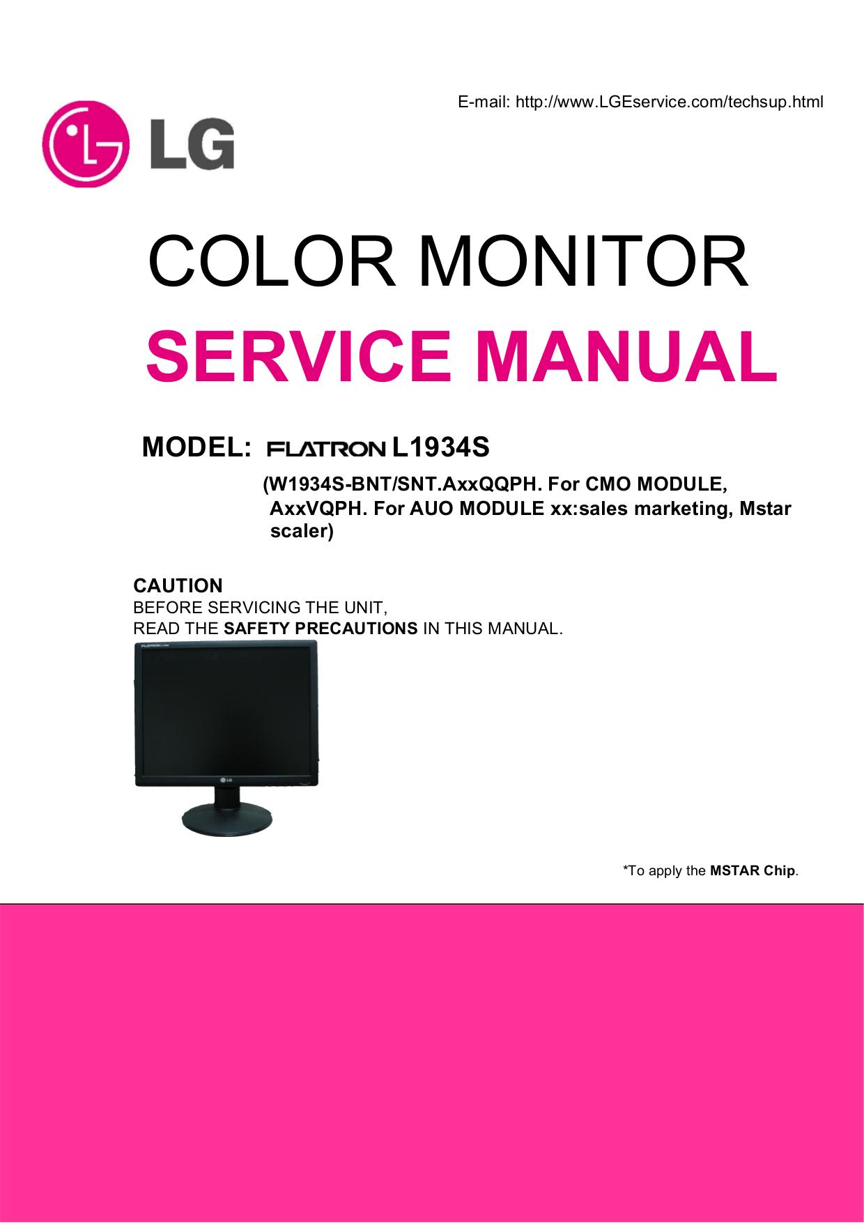 pdf for LG Monitor W1943C manual