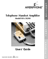 pdf for Ameriphone Telephone HA40 manual