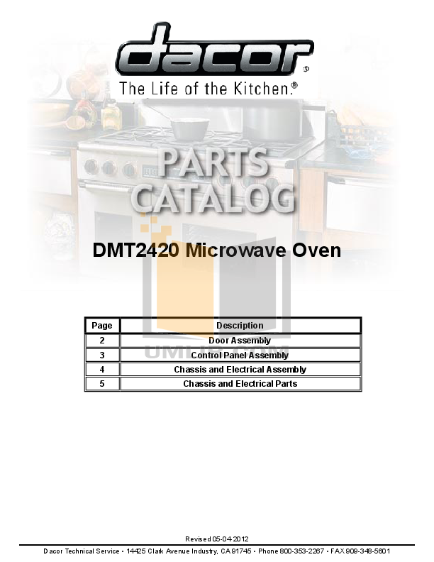 pdf for Dacor Microwave DMT2420S manual