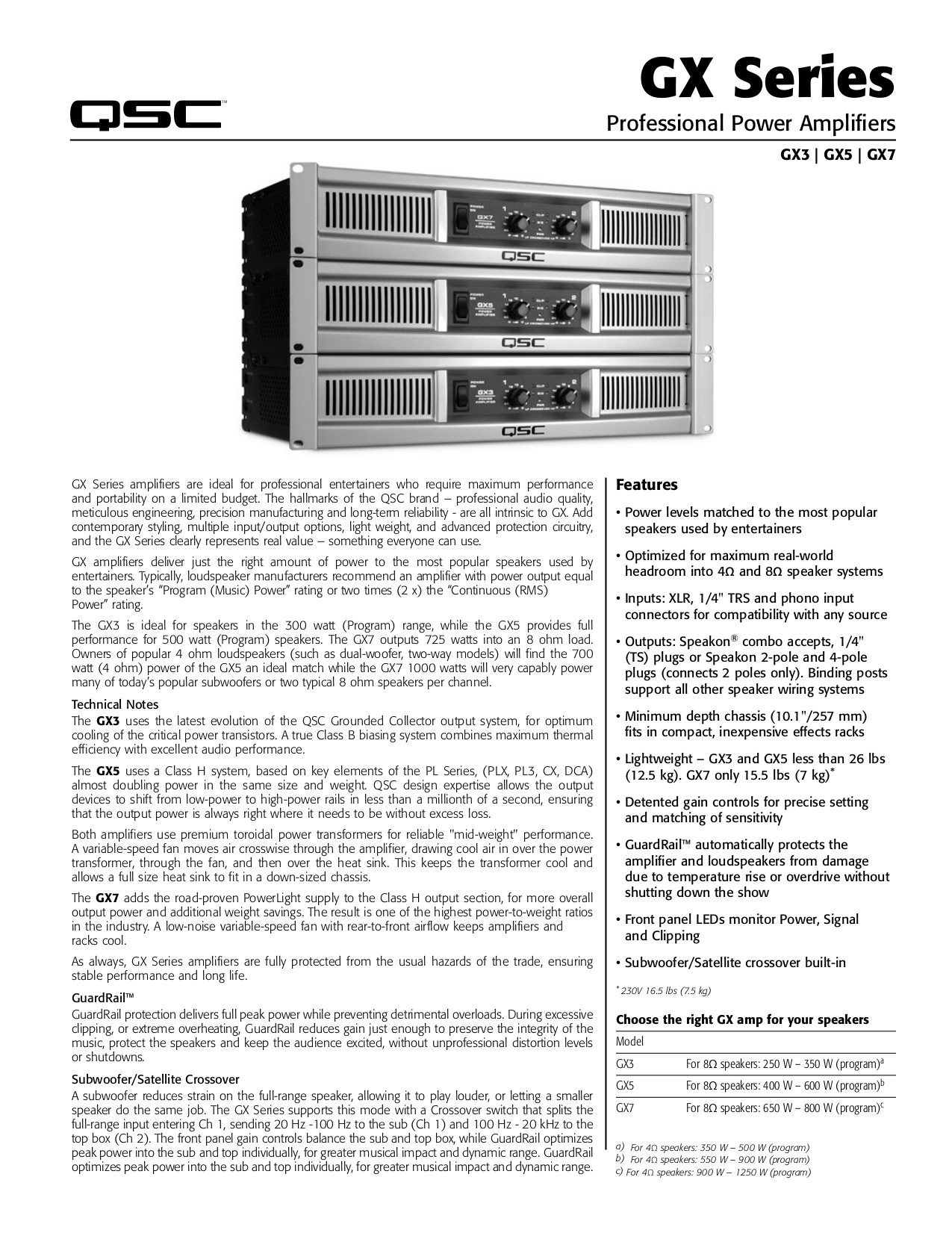 Download free pdf for QSC GX3 Amp manual on