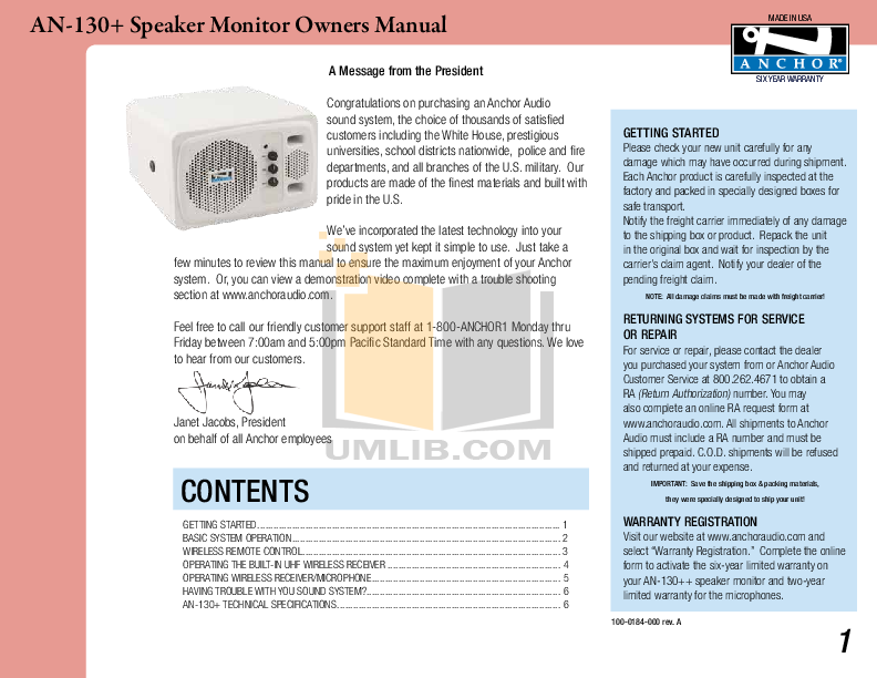 pdf for Anchor Speaker AN-130 manual