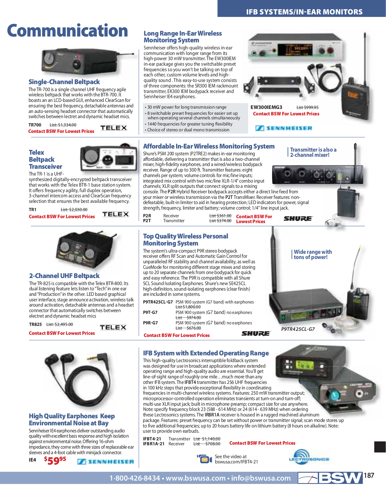 Telex Other TR-16 IFB Wireless pdf page preview