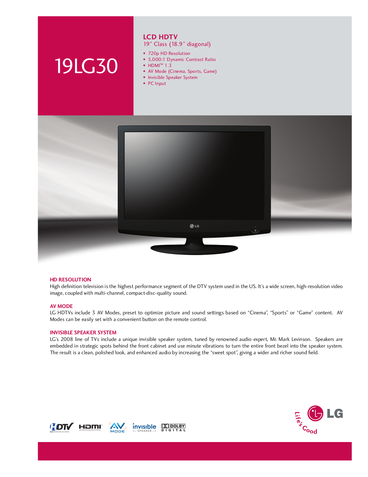 pdf for LG TV 19LG30 manual