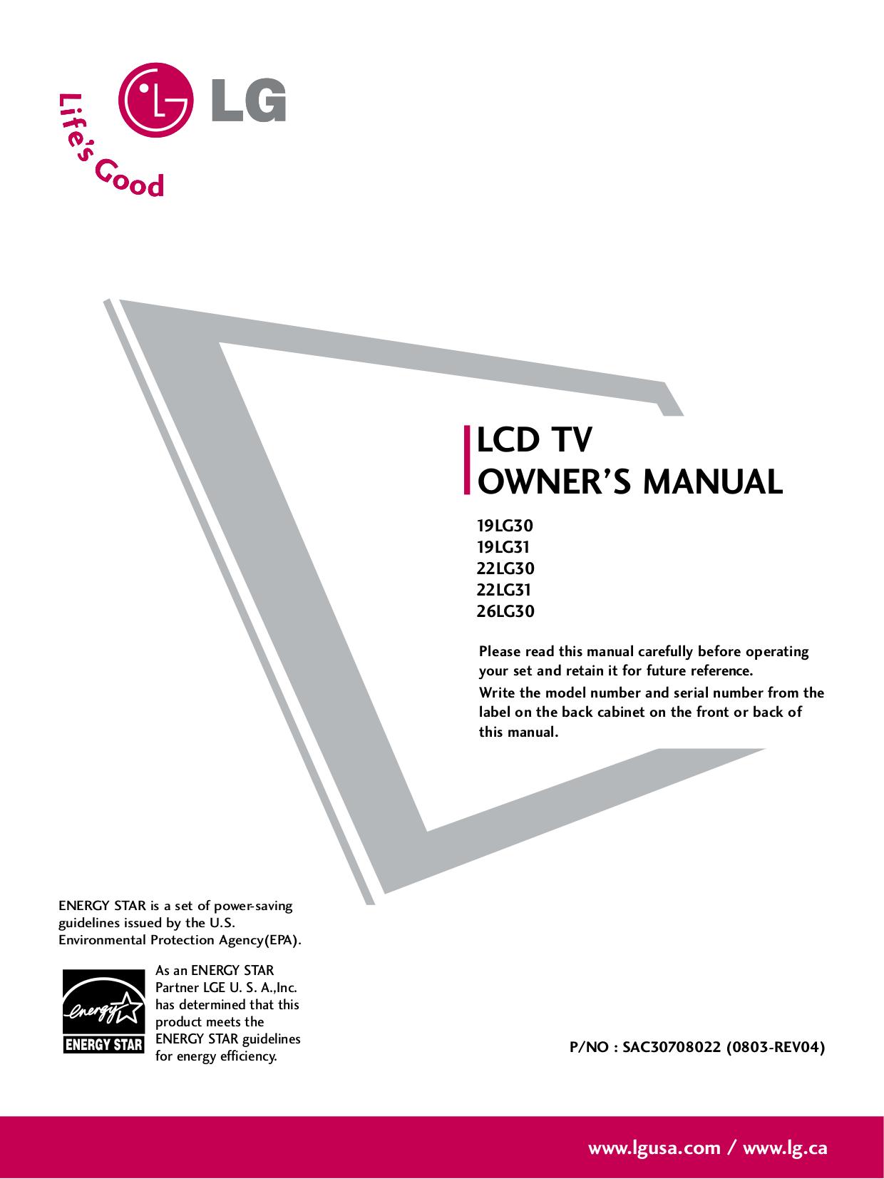 pdf for LG TV 19LG30 manual