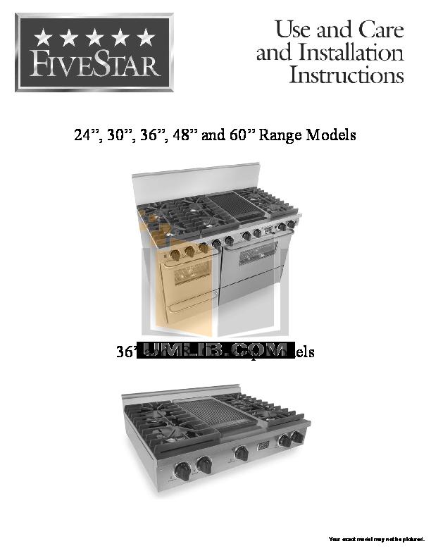 pdf for FiveStar Range TTN480-7BW manual
