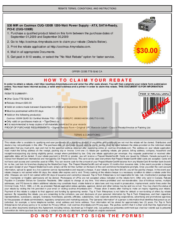 pdf for Coolmax Other CUQ-1200B Power Supply manual