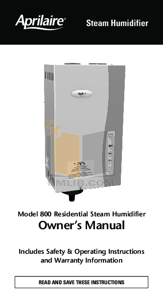 pdf for Aprilaire Humidifier 800 manual