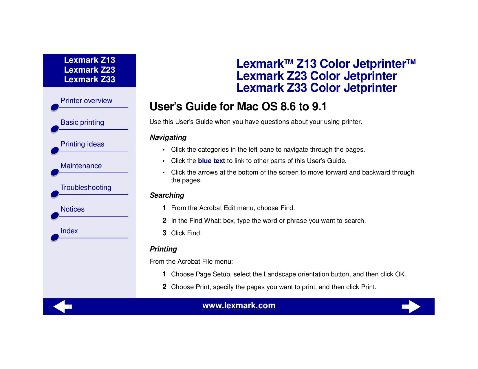 pdf for Lexmark Printer Z13 manual