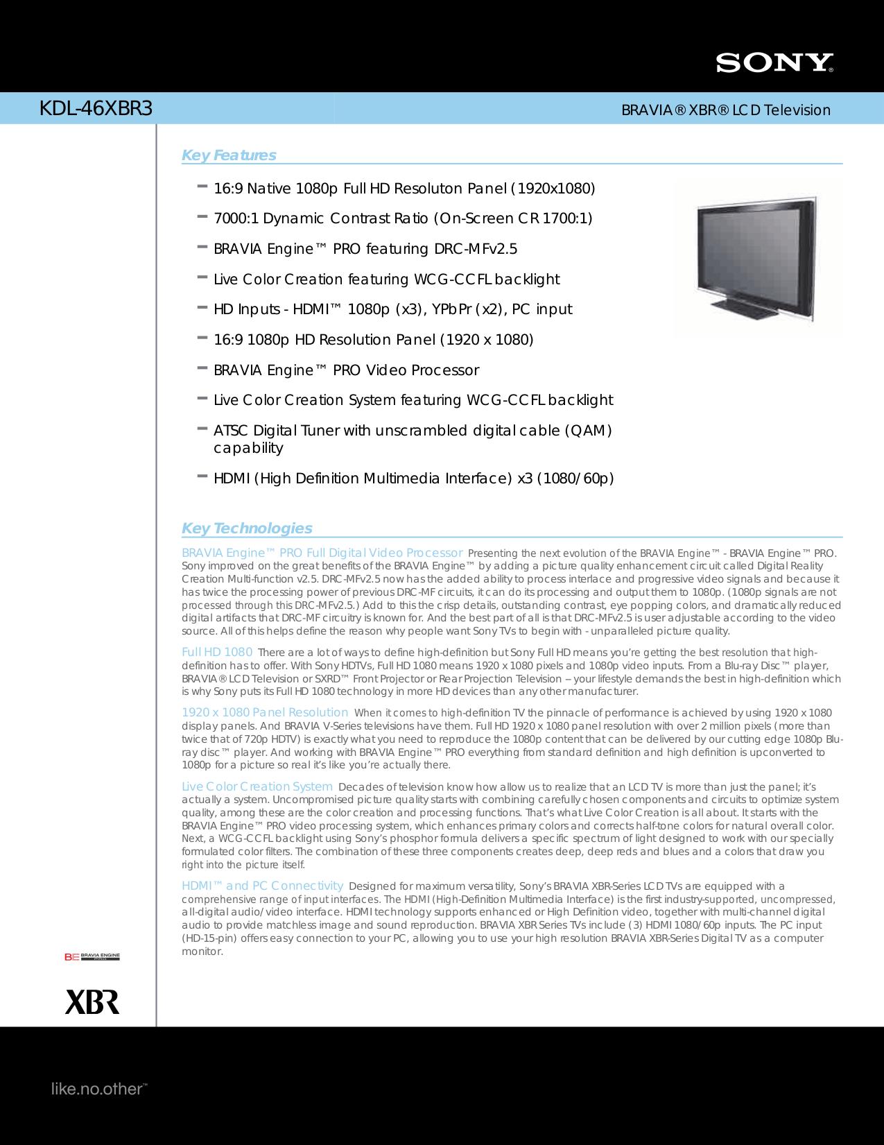 download free pdf for sony bravia kdl 46xbr3 tv manual rh umlib com Sony BRAVIA 46 Inch TV Sony BRAVIA Back Panel
