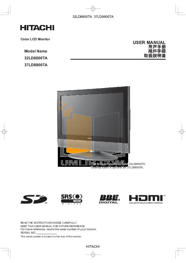 pdf for Hitachi TV 32LD8800TA manual