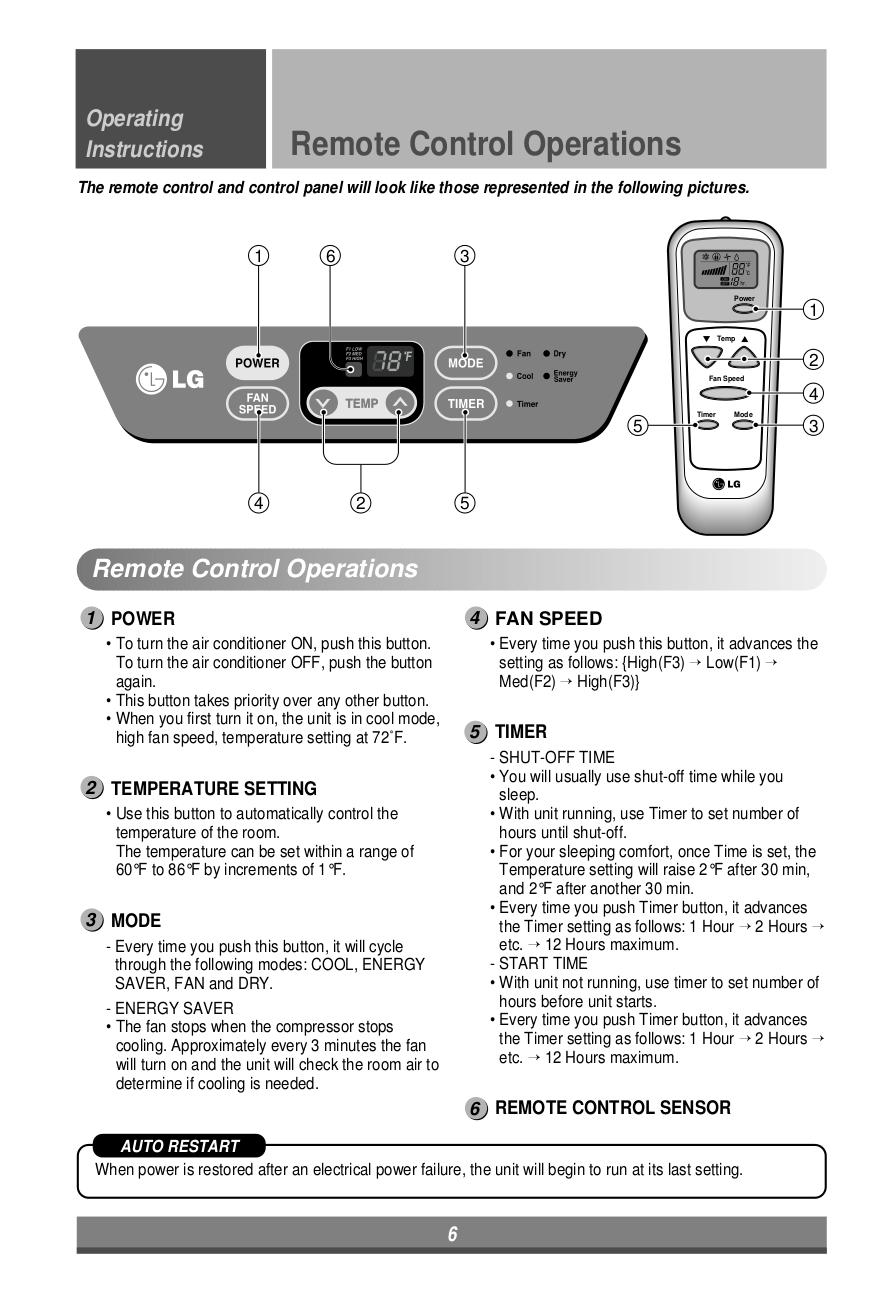 PDF manual for LG Air Conditioner LP6000ER