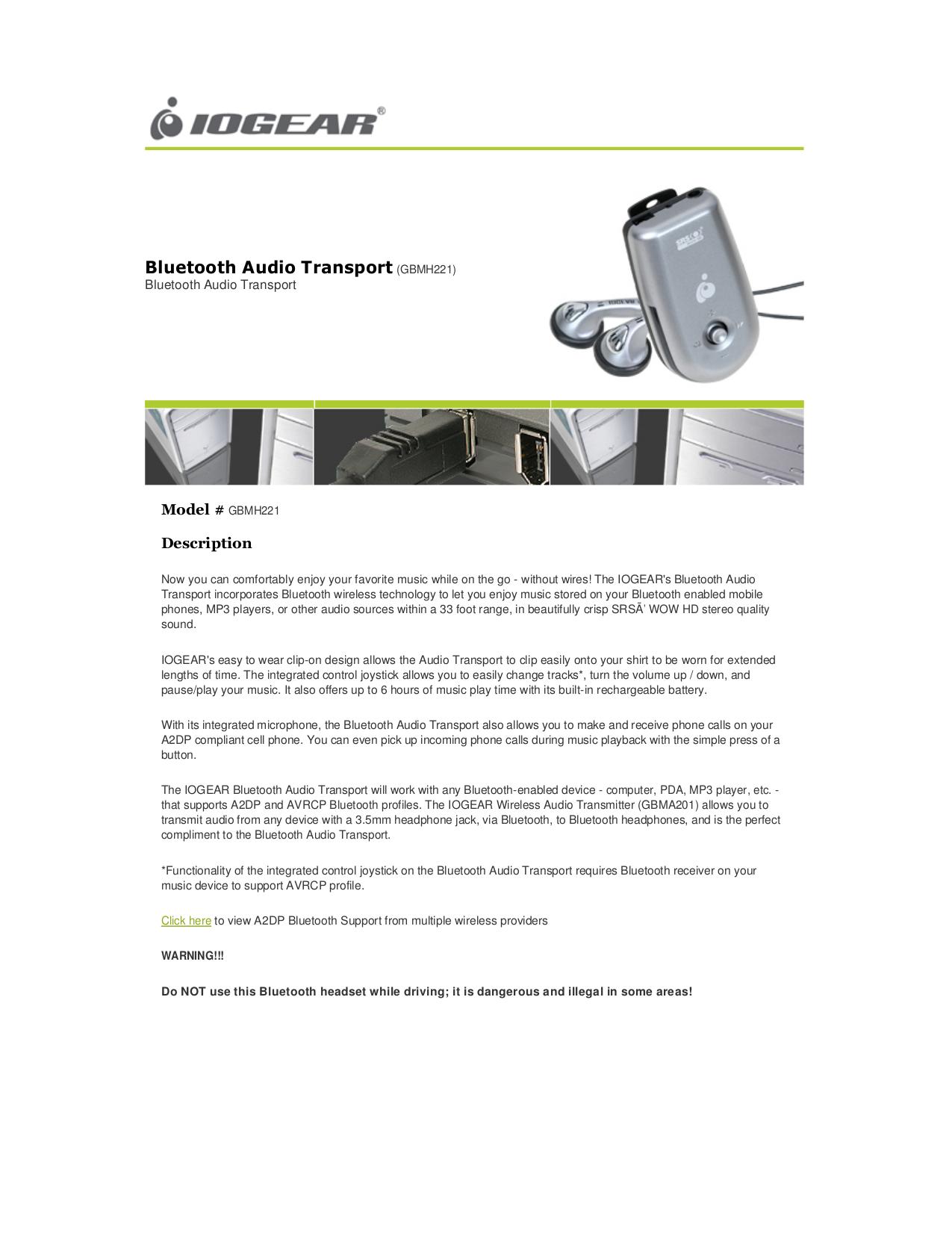 pdf for IOGEAR Headphone GBMH221 manual
