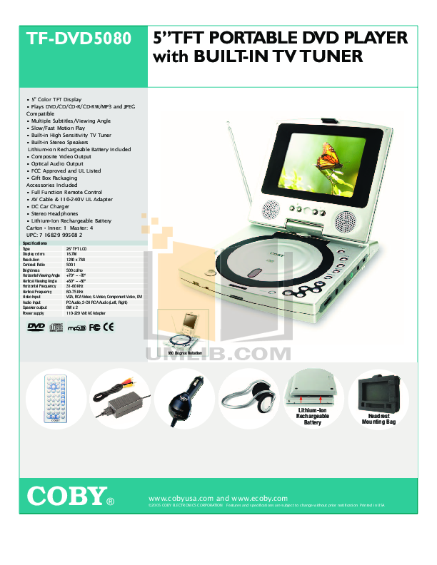 download free pdf for coby tf dvd5080 portable dvd player manual rh umlib com coby portable dvd player manual cx-cd109 Coby DVD Home Theater System