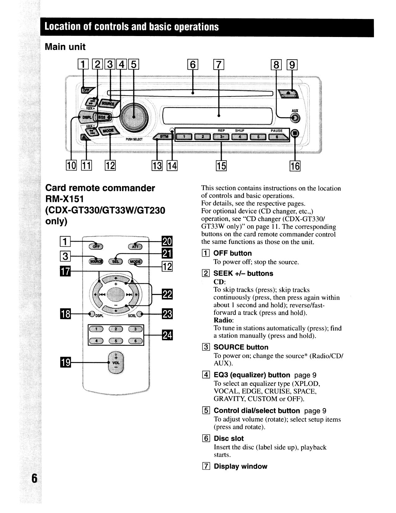 sony car receiver xplod cdx-gt130 pdf page preview