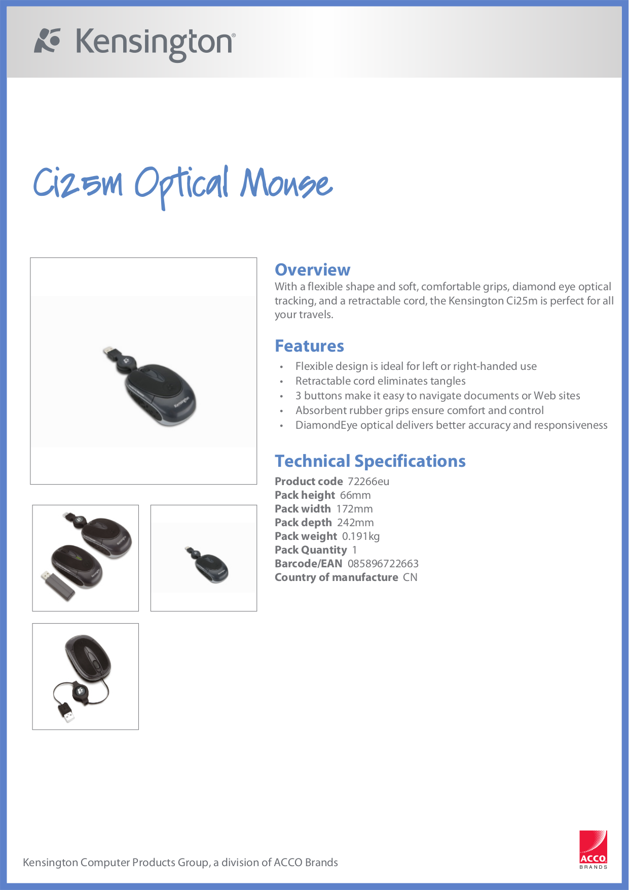 pdf for Kensington Mouse Ci25m manual