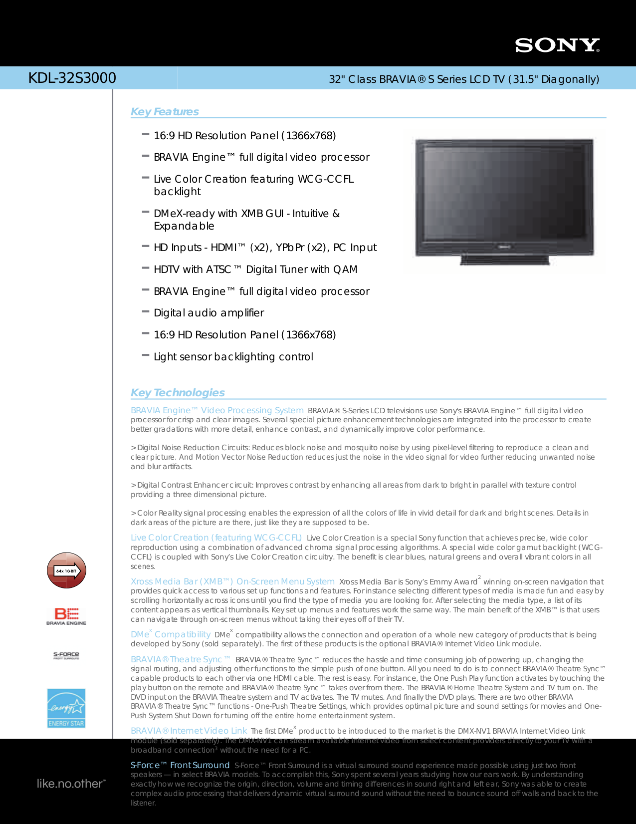 download free pdf for sony bravia kdl 32s3000 tv manual rh umlib com manual tv sony bravia kdl-32s3000 Sony KDL-32S3000 TV Stand For