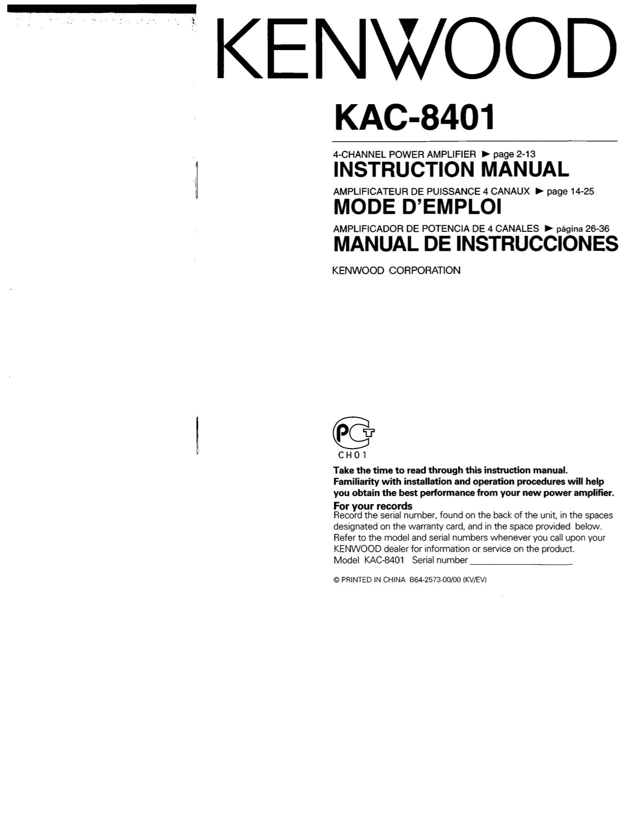 download free pdf for kenwood kac