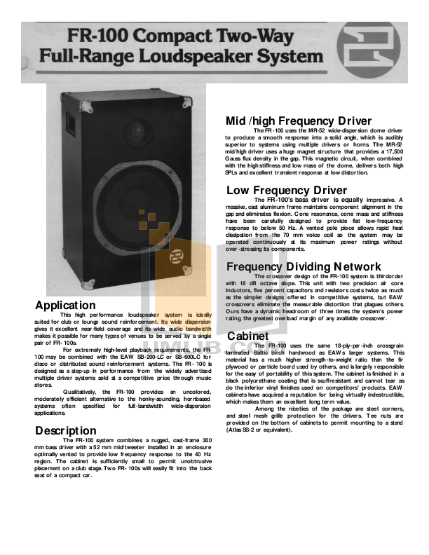 pdf for Eaw Speaker System FR100 manual