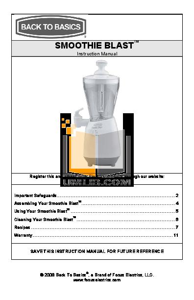 pdf for BacktoBasics Blender SJR1X manual