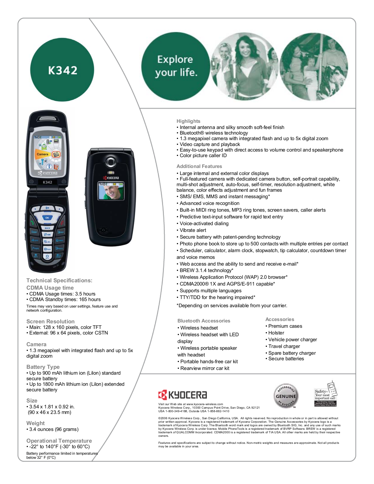 pdf for Kyocera Cell Phone K342 manual