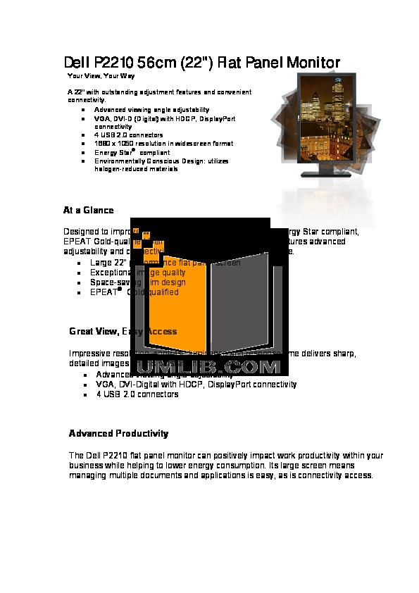 pdf for Dell Monitor P2210 manual