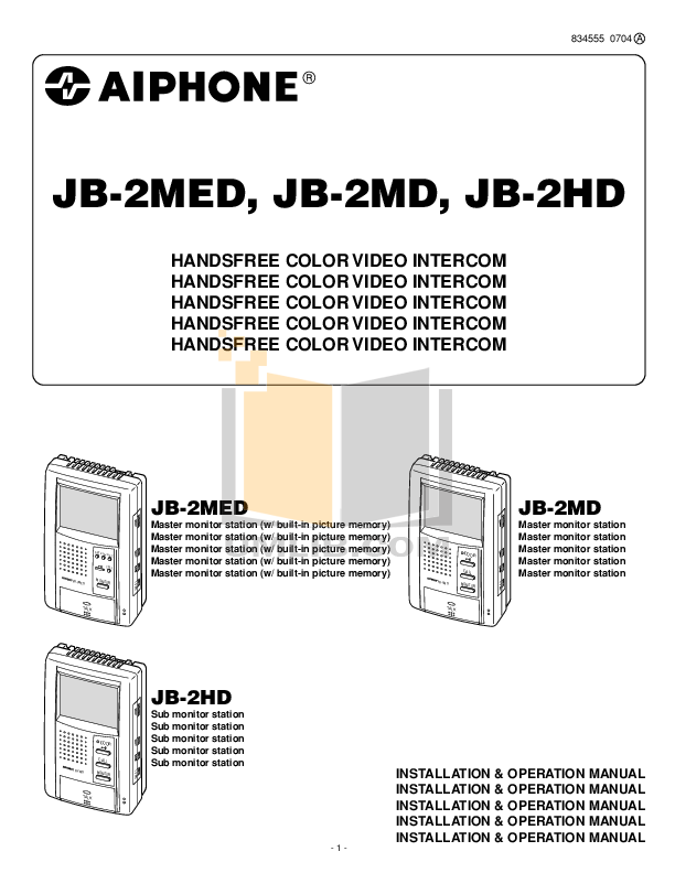 pdf for Aiphone Other JB-DVF Intercoms manual