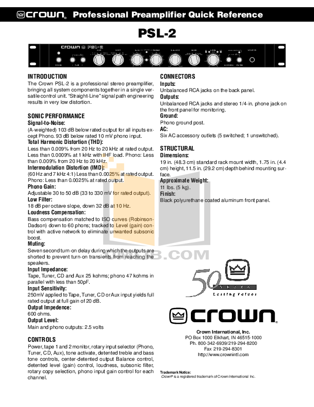 pdf for Crown Other SL-2 Stereo Preamplifiers manual